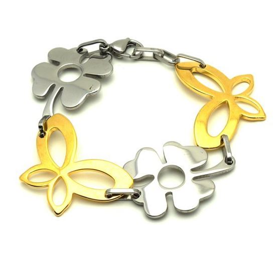 Picture of Floral Bracelet Stainless Steel Gold Plating