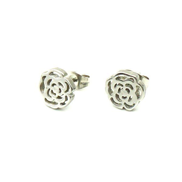 Picture of Flower Stud Earrings Stainless Steel Polished