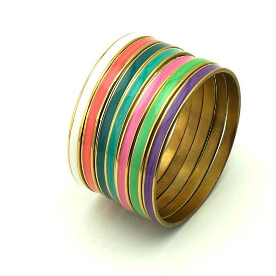 Picture of Girl Set Bangles Stainless Steel Colorful Enamel