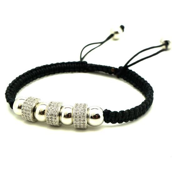 Picture of Stainless Steel CZ Black Macrame Bracelet