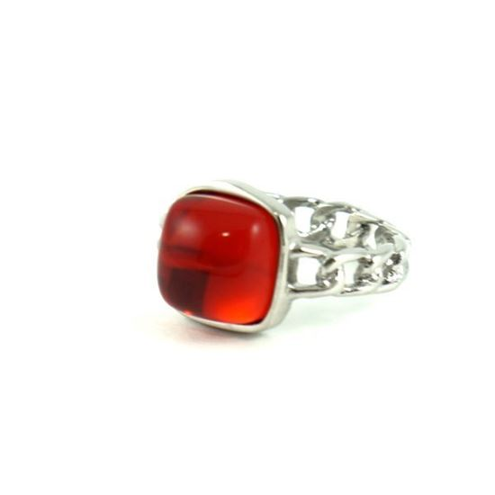 Picture of Red Stone Ring Stainless Steel Gold