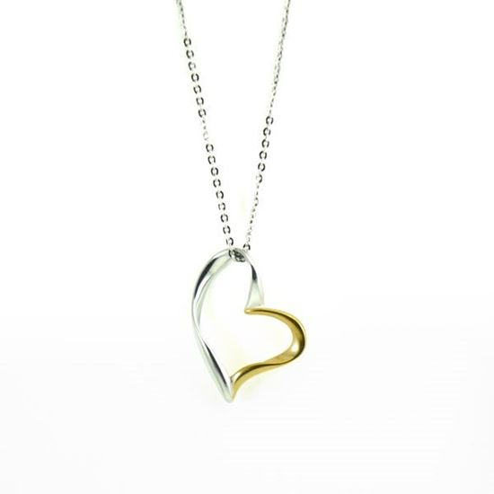 Picture of Silver/Gold Heart Necklace Stainless Steel