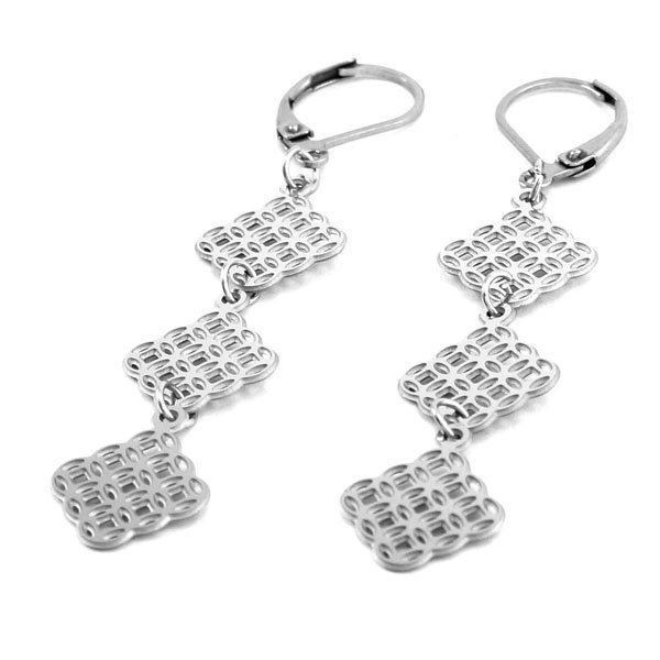 Picture of Dangling Square Stainless Steel Earrings