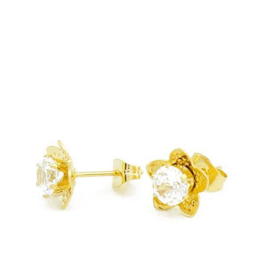 Picture of Stud Flower Crystal Earrings Stainless Steel