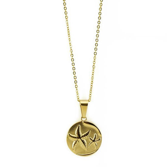 Picture of Coin Starfish Necklace Stainless Steel Gold Plating
