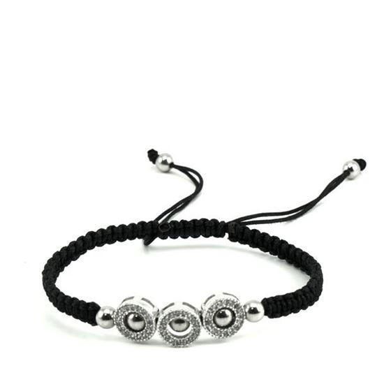 Picture of MIS Black Macrame CZ Stainless Steel Bracelet