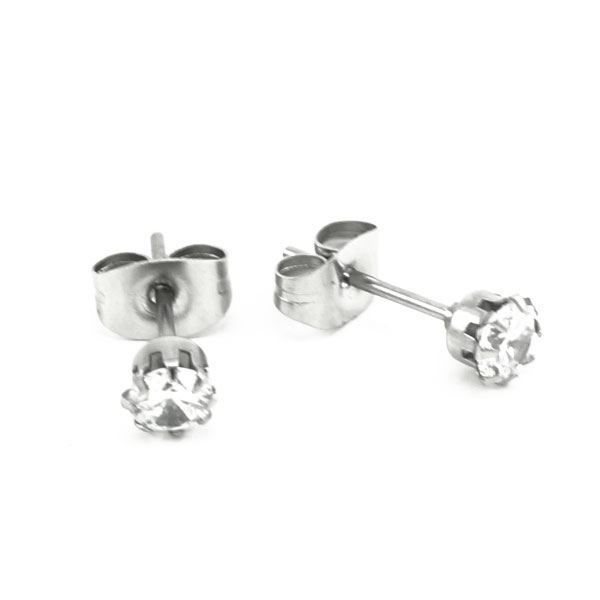 Picture of Stud CZ Earrings Stainless Steel