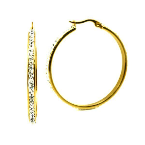 Picture of Hoop Crystal  Earrings  Stainless Steel Gold Plating