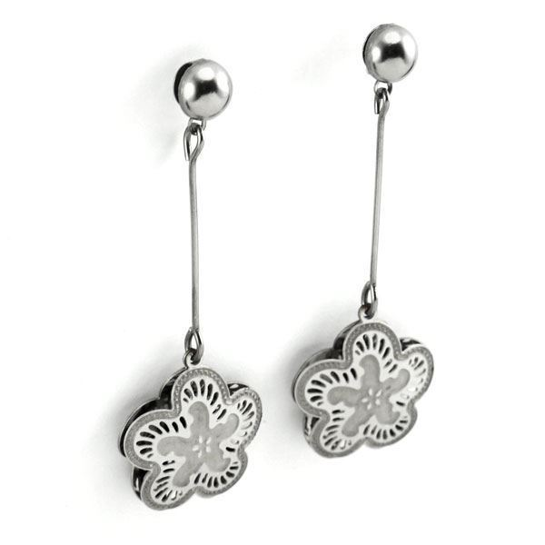 Picture of Flower Dangling Earrings  Stainless Steel