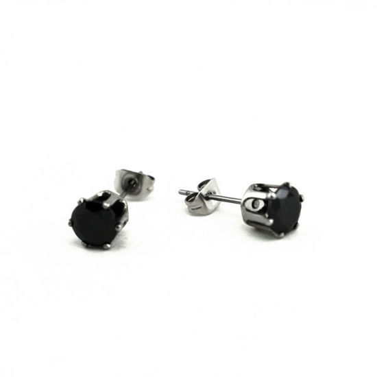 Picture of Stud Black Crystal Earrings Stainless Steel