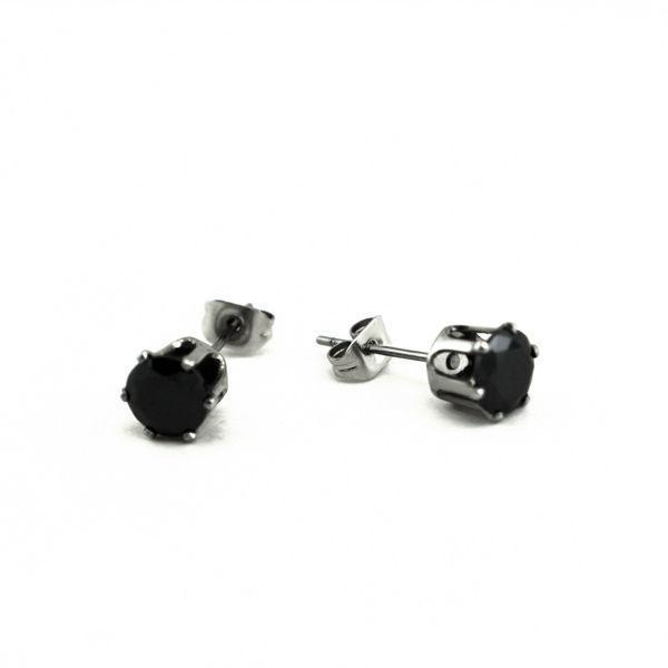 Picture of Stud Black Crystal Earrings Stainless Steel