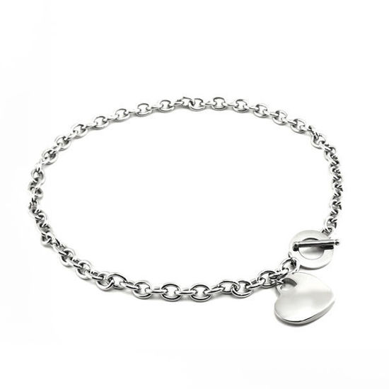 Picture of Heart Necklace Stainless Steel High Polished