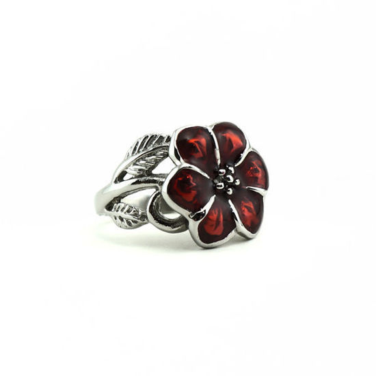 Picture of Women Red Flower Ring Stainless Steel