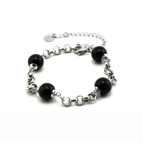 Picture of Black Bead Bracelet Stainless Steel Polished