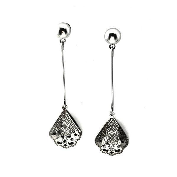 Picture of Flower Dangling Stud Earrings Stainless Steel