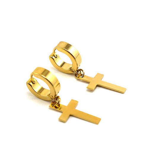 Picture of Huggie  Cross Earrings Stainless Steel for Men Women