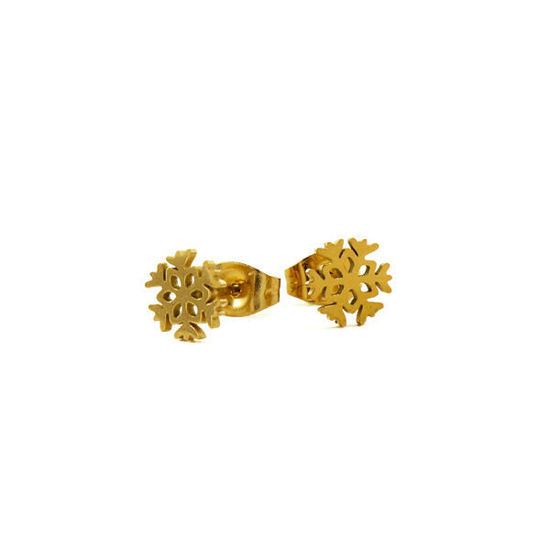 Picture of Snowflake Stud Earrings Stainless Steel