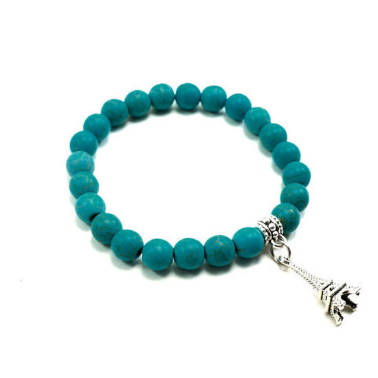 Picture of Handmade Blue Howlite Beads Bracelet With Charm