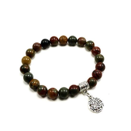 Picture of Handmade Jasper Semi-Precious Beads Bracelet With Charm