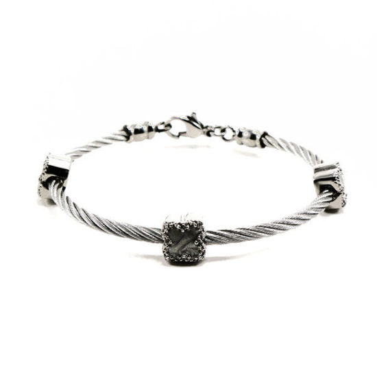 Picture of Flower Cable Bracelet Cuff Stainless Steel