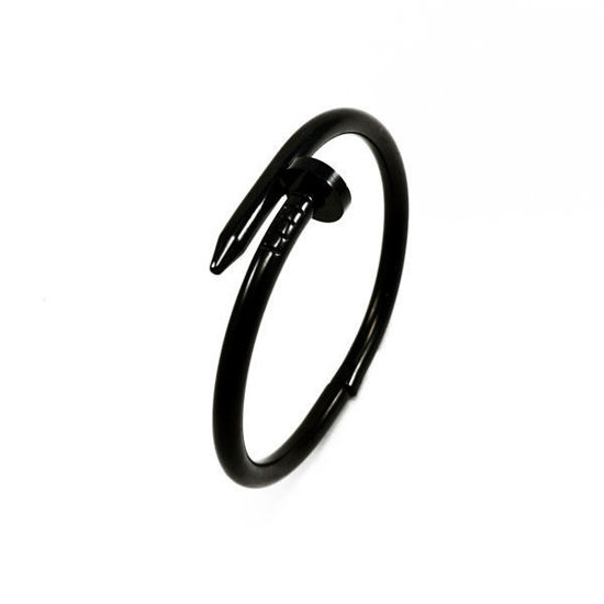 Picture of Nail Bangle Bracelet Black Ceramic Stainless Steel