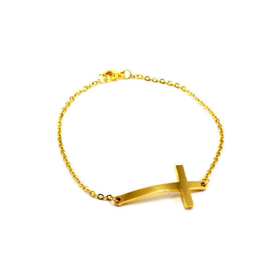 Picture of Cross Bracelet Stainless Steel Gold Platting