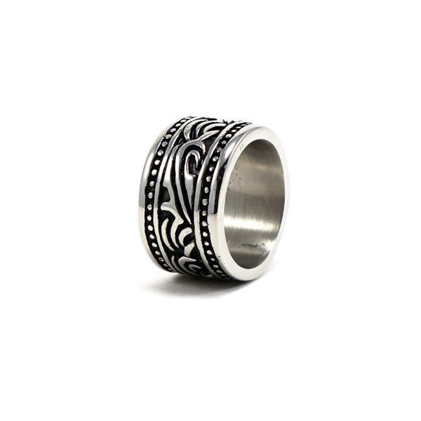 Picture of Men Black Enamel Ring Stainless Steel