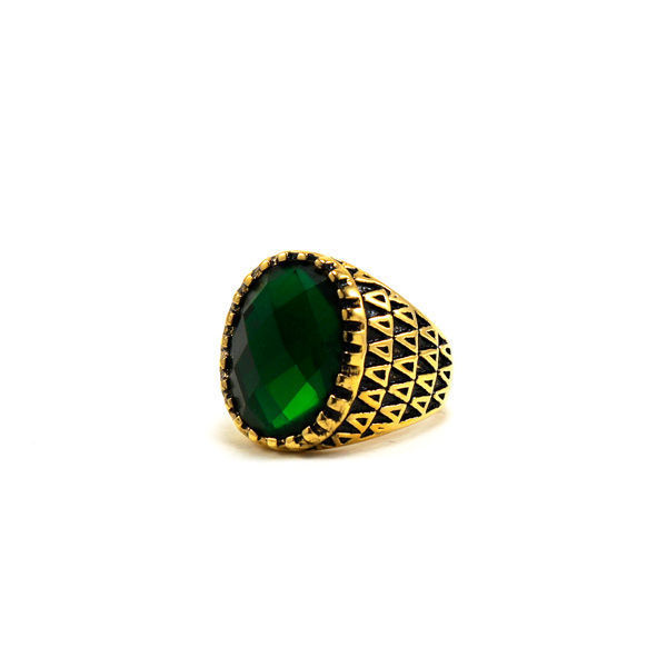 Picture of Men Women Green Stone Ring Plating