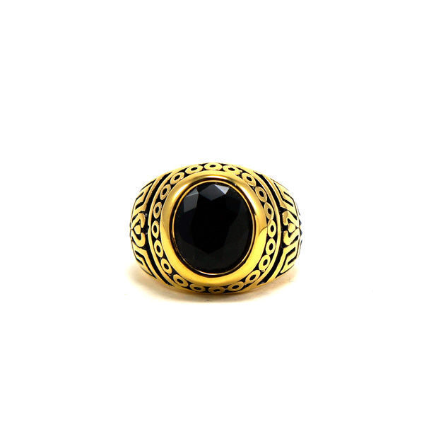 Picture of Men Stone Stainless Steel Gold Plating Ring