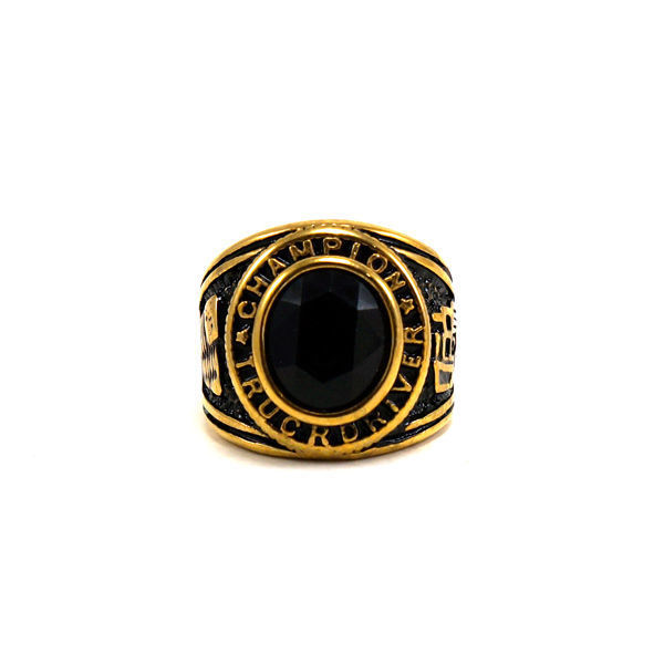 Picture of Men Black Stone Stainless Steel Gold Plating