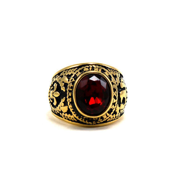 Picture of Men Red Stone Stainless Steel Gold Plating