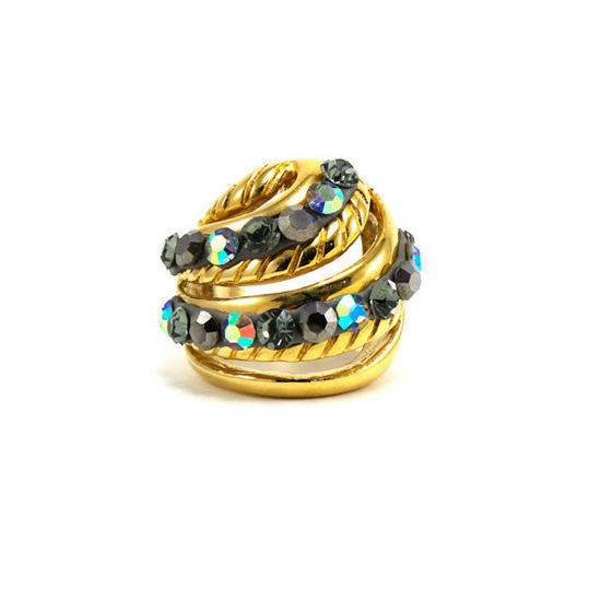 Picture of Blue Crystal  Ring Stainless Steel Gold Plating