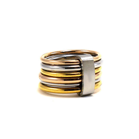 Picture of Stainless Steel Ring Sets Three Gold