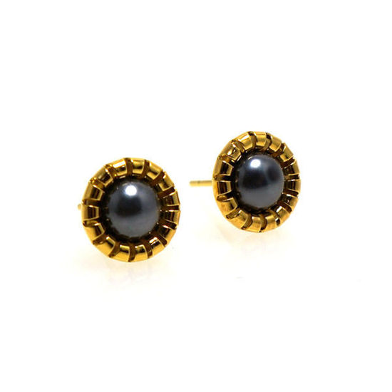 Picture of Stud Pearl Earrings Stainless Gold Plating