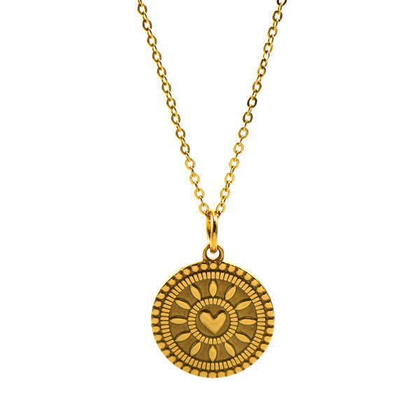 Picture of ANFLO Gold Coin Heart Necklace Stainless Steel
