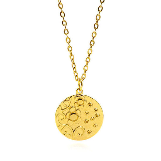 Picture of Medallion Flower Necklace Stainless Steel Gold Plating