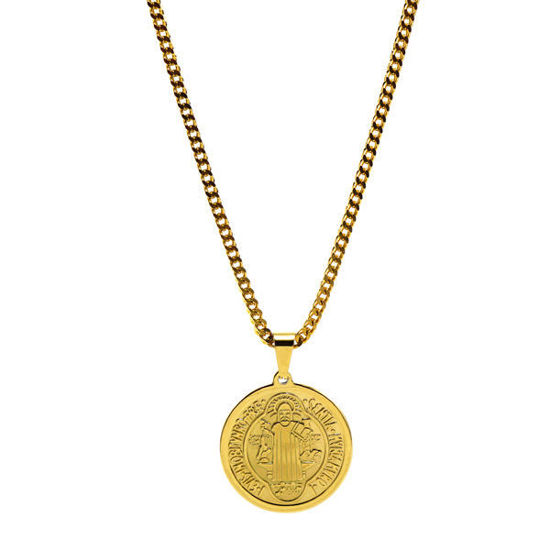 Picture of Religious Medal Pendant Necklace Stainless Steel Gold Plating