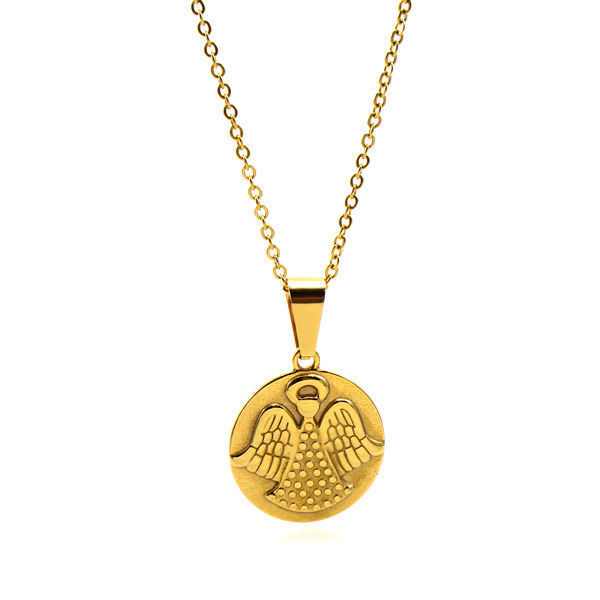 Picture of ANFLO Gold Coin Angel Necklace Stainless Steel