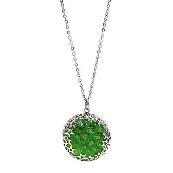 Picture of Chain Necklace Green Pendant Stainless Steel
