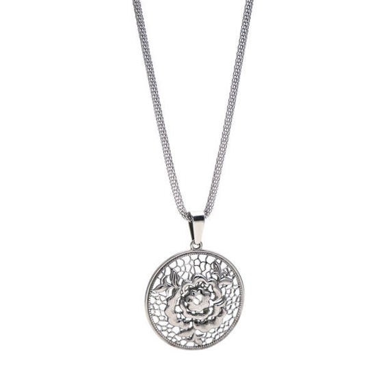 Picture of Flower Medallion Necklace Stainless Steel Polished