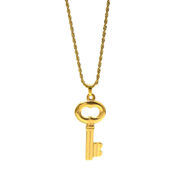 Picture of Key Necklace Stainless Steel Gold Plating