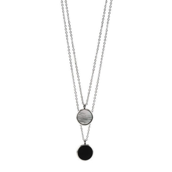 Picture of Black & White Pendant Double Necklace Stainless Steel