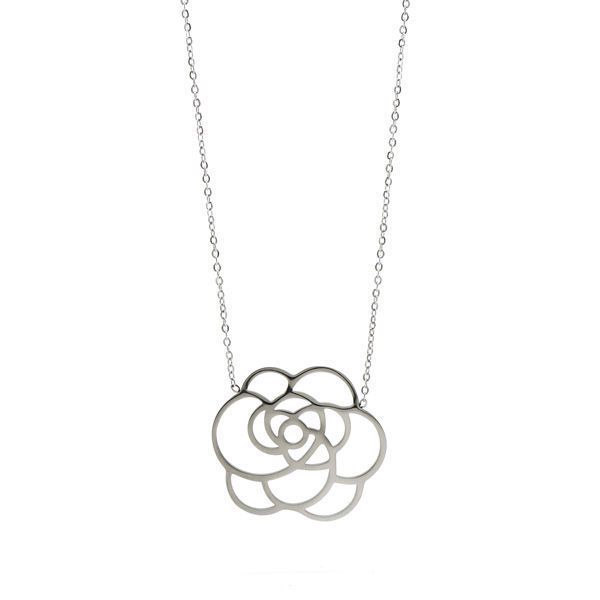 Picture of Flower Necklace Stainless Steel Silver