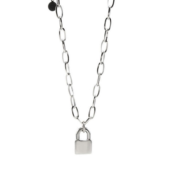 Picture of Lock Pendant Oval Chain Necklace Stainless Steel