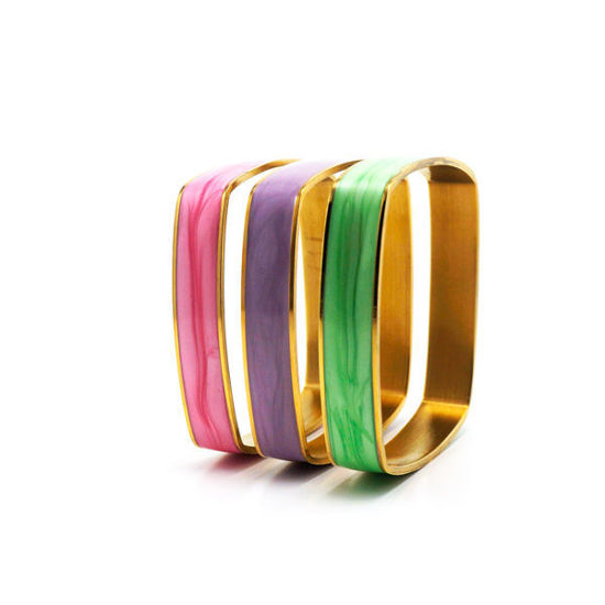 Picture of Bracelet Colorful Set Stainless Steel Enamel Gold Plating