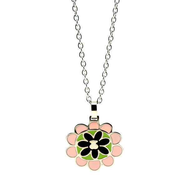 Picture of Flower Enamel Pendant Stainless Steel Necklace