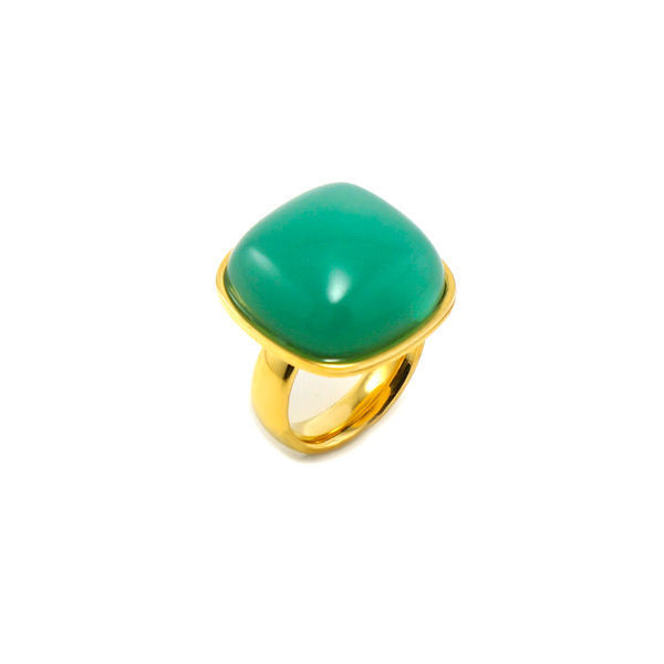 Picture of Jade Semi Precious Stone Ring Stainless Steel Gold Plating