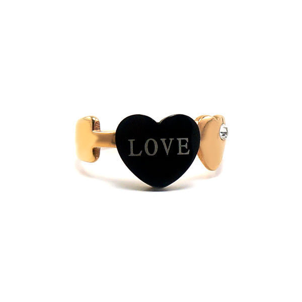 Picture of Gold Rose Heart Ring Stainless Steel High Quality