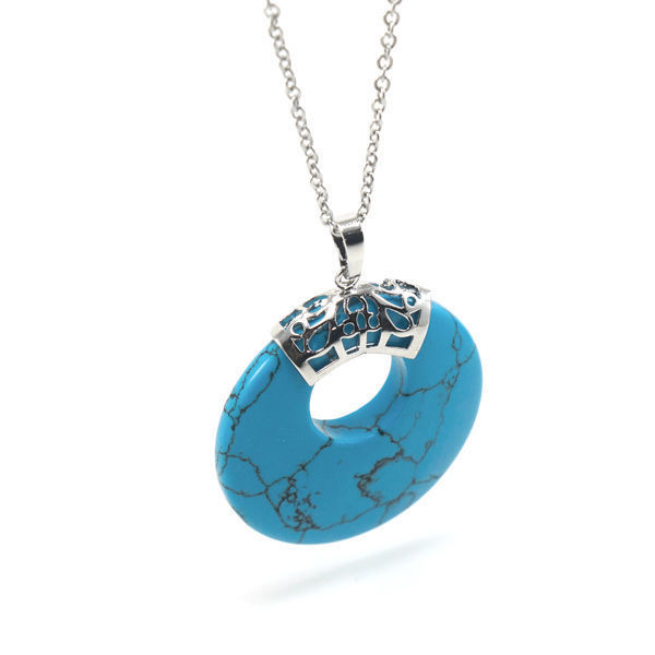 Picture of Semi Precious Turquoise Stone Necklace Stainless Steel
